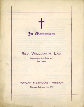 Rev Lax Funeral Service prog 11 Feb 1937 front cover