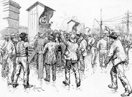 Engaging Dock Labourers at the West India Docks, 1886