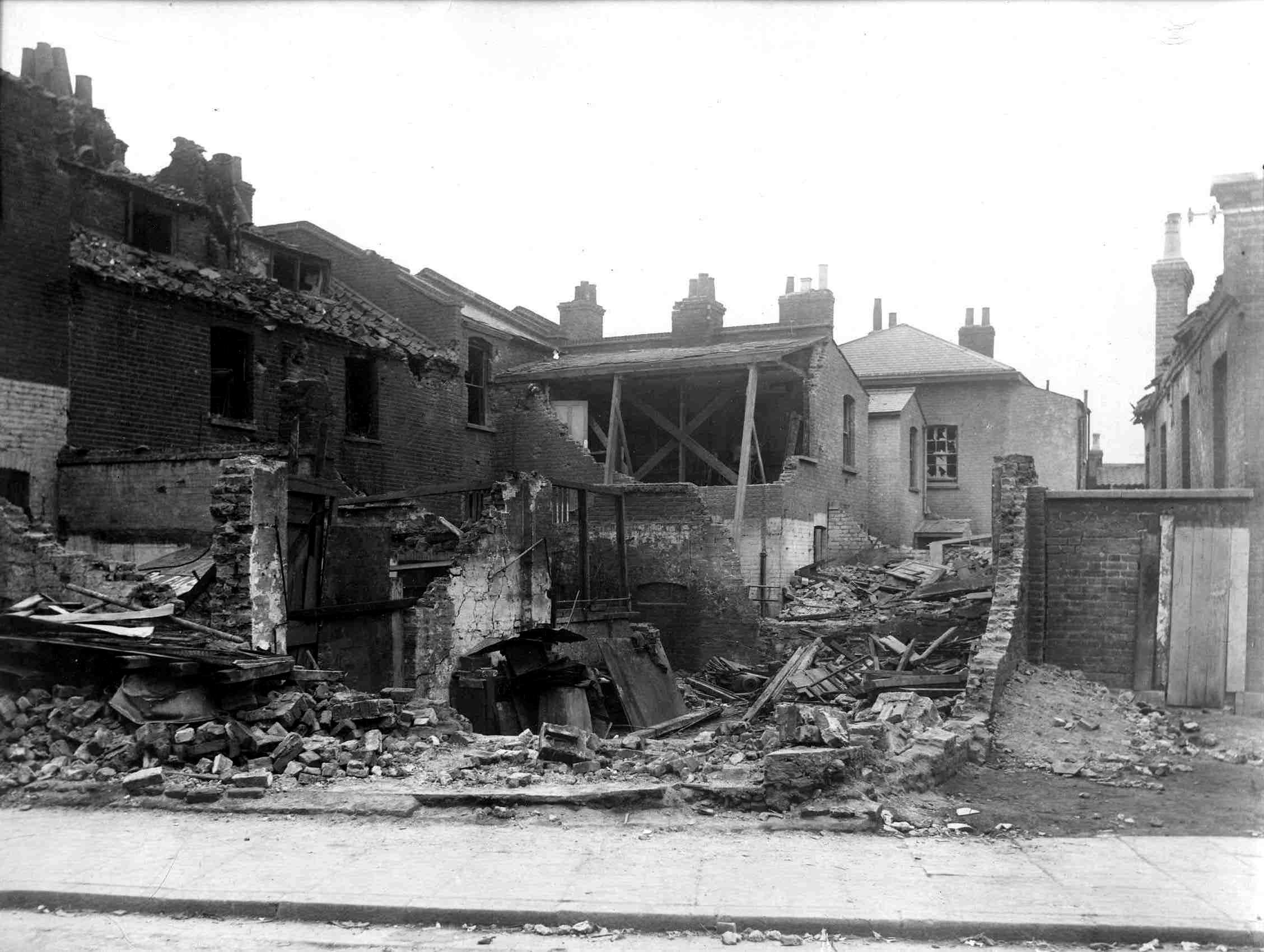 Zeppelin air raid damage to houses in Botolph Road, Bow, 23 September 1916