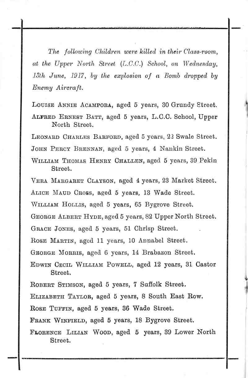 the names of the 18 children killed, from the order of service book at their funeral, 20 Jun 1917